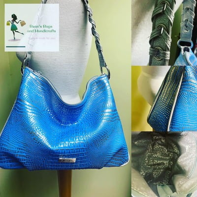 The Paulette Bag - Metallic Blue Croc