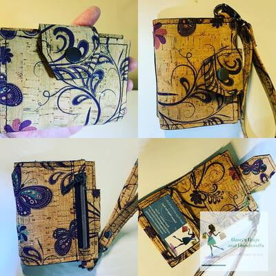 Slim Wristlet Wallet - Natural Butterfly