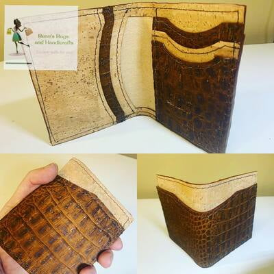 Bender 2.0 Wallet - Vegan Crocodile Brown and Natural Cork