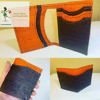 Bender 2.0 Wallet - Vegan Brown and Orange Cork