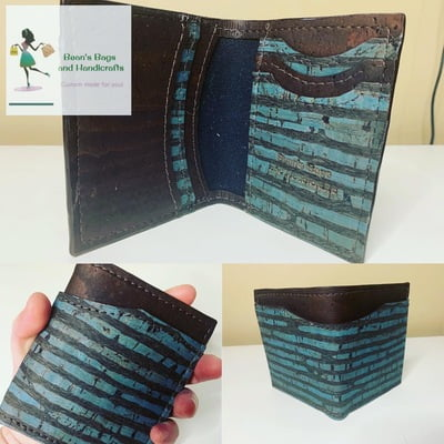 Bender 2.0 Wallet - Vegan Blue and Brown Stripes Cork