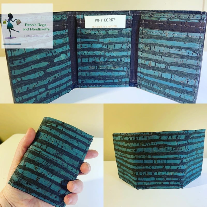Tri-Fold Wallet - Vegan Blue and Brown Stripes Cork