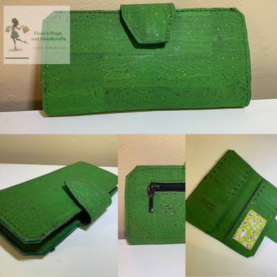 Cork Tall Wallet - Rustic Green