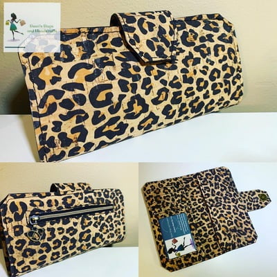 Cork Tall Wallet - Leopard