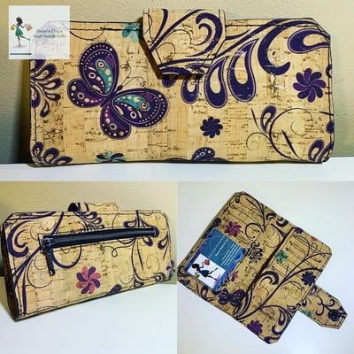 Cork Tall Wallet - Butterfly