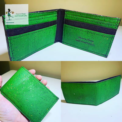 Bi-Fold Wallet - Vegan Green and Brown Cork