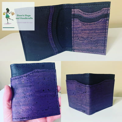 Bender 2.0 Wallet - Vegan Black and Eggplant Cork