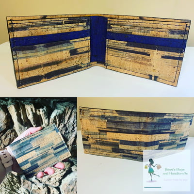 Bi-Fold Wallet - Vegan Blue Stripes Cork