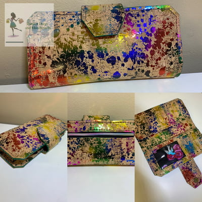 Cork Tall Wallet - Rainbow Splotch
