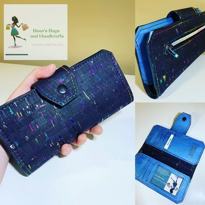 Cork Tall Wallet - Black, Blue with Rainbow Fleck