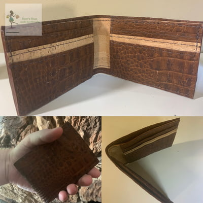 Bi-Fold Wallet - Vegan Croc Skin and natural Cork