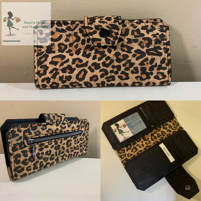 Cork Tall Wallet - Leopard and Black