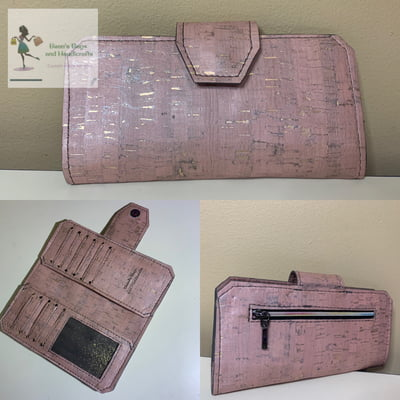 Cork Tall Wallet - Soft Pink with Gold Fleck