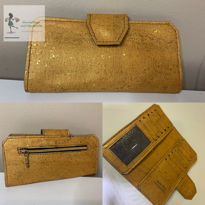 Cork Tall Wallet - Yellow with Gold Fleck